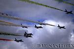 Military Airshow: Aermacchi MB339A/PANs, Le Frecce Tricolori : Italian Air Force Aerobatic Team, Rivolto, The Royal International Air Tattoo 2002, Fairford, Gloucestershire, England, UK