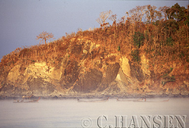 Mist and Sunrise over Fishing Boats, Nagpali Beach, Myanmar (formerly Burma)