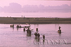 People working and fishing, Ayeyawady River, Mandalay, Myanmar (formerly Burma)