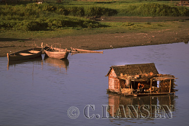 House Boat on Ayeyawady River, Mandalay, Myanmar (formerly Burma)