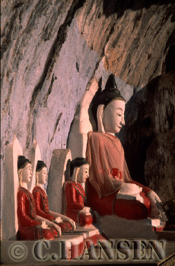 Buddha Statues in Cave, Shan State, Myanmar (formerly Burma)