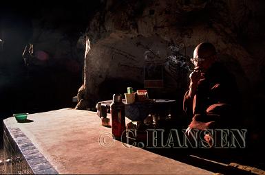 Buddhist Monk in Ta-Eh Gu Cave, Nyaungshwe, Myanmar (formerly Burma)