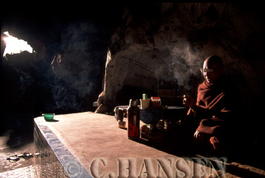 Buddhist Monk in Ta-Eh Gu Cave, Nyaungshwe, Myanmar (formerly Burma)
