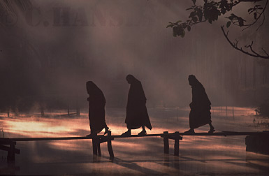 Buddhist Monks on bridge, Inle Lake, Myanmar (formerly Burma)