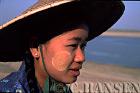 Burmese Lady with Thanaka on face, Irrawady River, Mingin, Myanmar (formerly Burma)