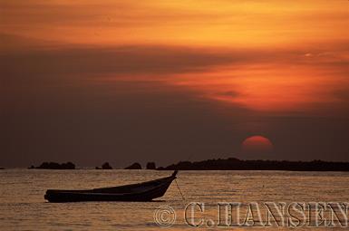 Boat at Sunset, Nagpali Beach, Myanmar (formerly Burma)
