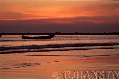 Sunset over Fishing Boats, Nagpali Beach, Myanmar (formerly Burma)