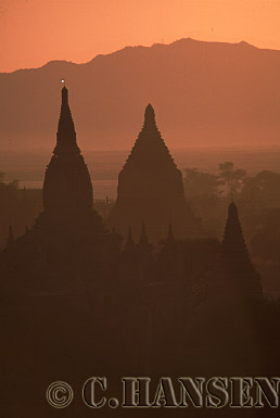 Mist and Sunrise over Temples, Bagan, Myanmar (formerly Burma)