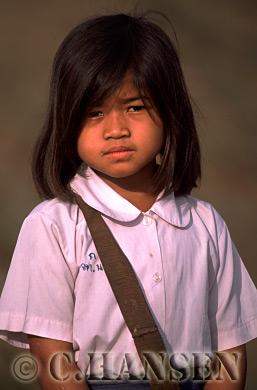 Girl in school uniform, Champassak, Laos
