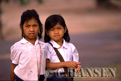 Girls in school uniform, Champassak, Laos