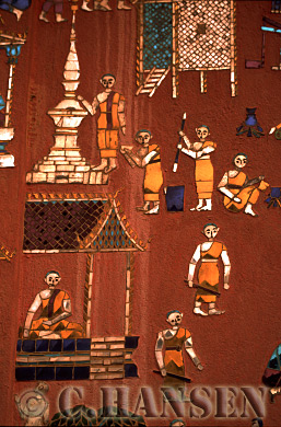 Artworks on Temple's wall, Laung Probang, Laos