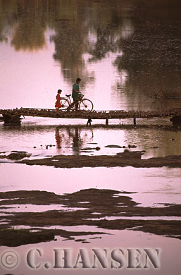 Crossing bridge, Southern Laos