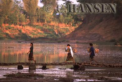 Crossing bridge, Southern Laos