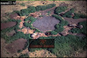 MASAI ENCLOSURES from Air, Ngorongoro, Tanzania