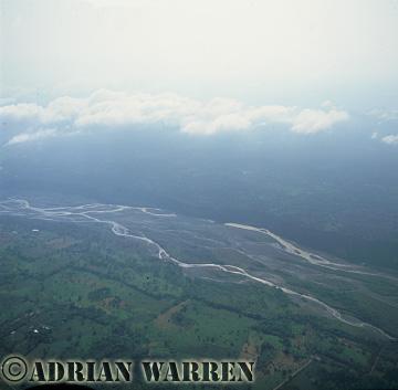 Aerials (aerial photo) of South America: rainforest and rio Napo, Ecuador