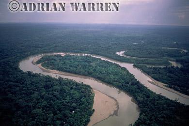Aerials (aerial photo) of South America: rainforest, rio Curaray, Ecuador