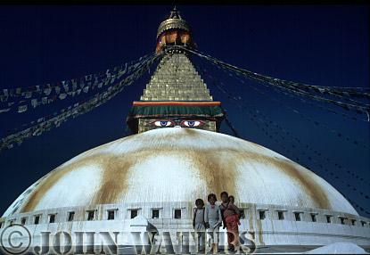Stupa and prayer flags at Bodnath shrine, Kathmandu, Nepal, Asia