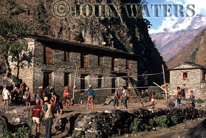 Playing volleyball, A small village in the Kali Gandaki, Nepal, Asia