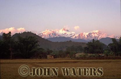Annapurna range from Pokhara, Nepal, Asia