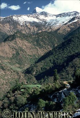 Farming settlements, below Annapurna range, Nepal, Asia