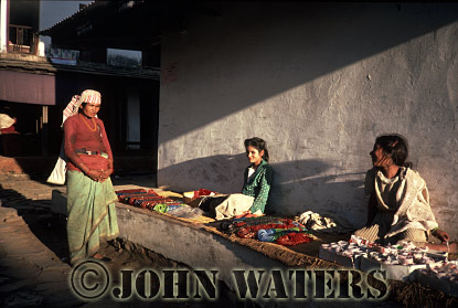 Sellers of (the very popular) plastic bangles and bracelets, Kusma, Nepal, Asia