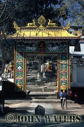 Gateway to Swayambhunath-the monkey temple, Kathmandu, Nepal, Asia