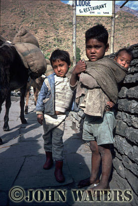 Young boys near Tatopani, Nepal, Asia
