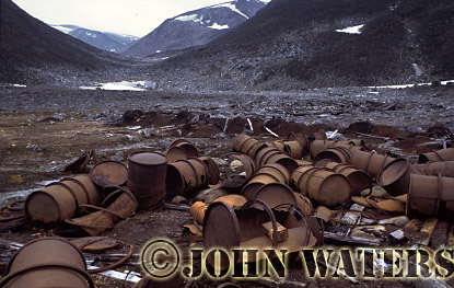 Abandoned fuel drums, Svalbard, Norway, Scandanavia, Arctic