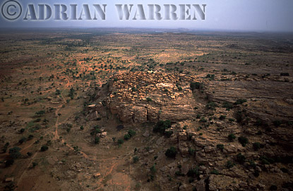 Aerials (aerial image) of Africa : DOGON settlement on plateau area near BANDIAGARA,Mali
