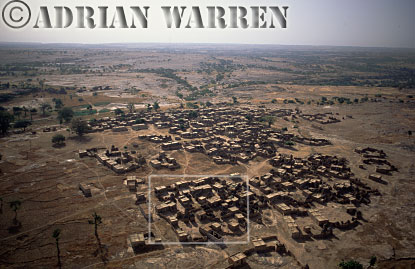 Aerials (aerial image) of Africa : Settlement on plateau area near BANDIAGARA,Mali
