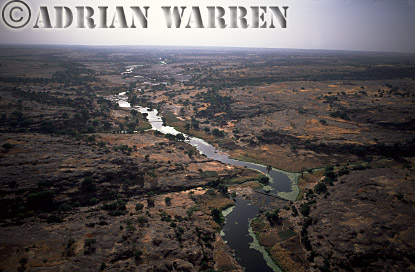 Aerials (aerial image) of Africa : River on plateau area near BANDIAGARA,Mali