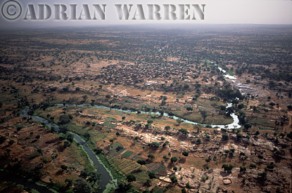 Aerials (aerial image) of Africa : Settlement and river on plateau area near BANDIAGARA,Mali