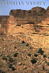Aerials (aerial image) of Africa : Escarpment at BANDIAGARA with DOGON settlements at base of cliffs,Mali