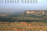 Aerials (aerial image) of Africa : Escarpment at BANDIAGARA with DOGON settlements at base of cliffs,Mali