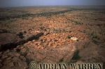 Aerials (aerial image) of Africa : DOGON settlement on plateau area near BANDIAGARA,Mali