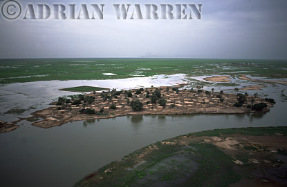 Aerials (aerial image) of Africa : Island settlement on NIGER DELTA,Mali