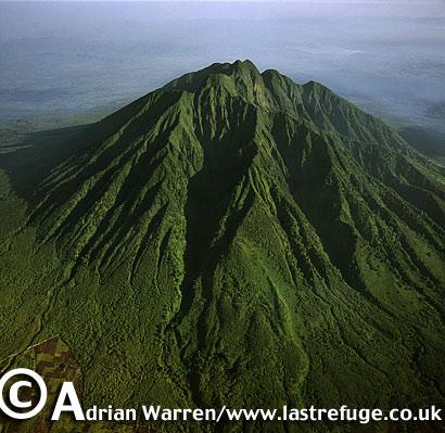 Aerials (aerial image) of Africa: Mount Sabynyo, Virunga Volcanoes, Rwanda, 2003