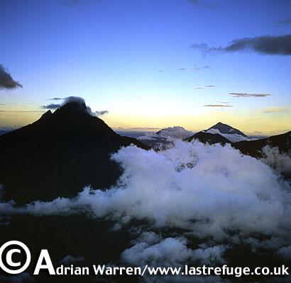 Aerials (aerial image) of Africa: Mount Mikeno and Mount Karisimbi, Virunga Volcanoes, Rwanda, 2003