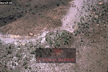 MASAI ENCLOSURES from Air, African Rift Valley, Kenya
