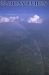 Cumulus clouds and rainbow, over Illinois, USA