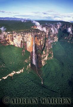 Aerials (aerial photo) of Tepuis, South America: Angel Falls, Auyantepui, Venezuela