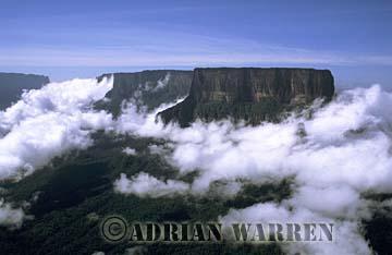 Aerials (aerial photo) of Tepuis, South America: Mount Kukenaam in clouds (Kukenan, Cuguenan), Venezuela