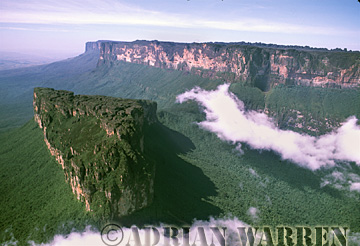 Aerials (aerial photo) of Tepuis, South America: Mount Roraima from Northeast with Weiassipu in foreground, Venezuela