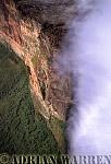 Aerials (aerial photo) of Tepuis, South America: Mount Roraima in clouds, Venezuela