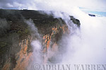 Aerials (aerial photo) of Tepuis, South America: Mount Roraima in clouds, Venezuela