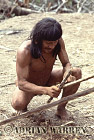 Waorani Indians : Caempaede making Blowgun, rio Cononaco, Ecuador, 1983