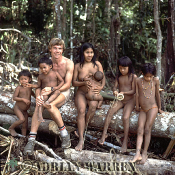 Waorani Indians: a family with Adrian Warren : rio Cononaco, Ecuador, 1983