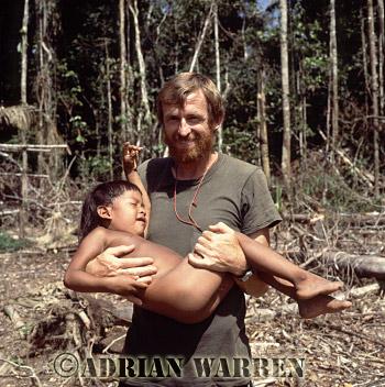 Waorani Indians, A Child with James (Jim) Yost, Rio Cononaco, Ecuador, 1983