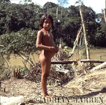 Waorani Indians : Girl, rio Cononaco, Ecuador, 1983