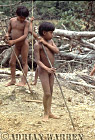 Waorani Indians : learning how to use Spears, rio Cononaco, Ecuador, 1983
